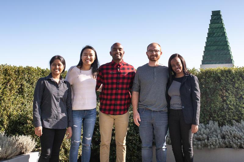group shot of 2019-20 Skoll Scholars. from left to right: Anjali Sarker, Tsechu Dolma, Rangan Srikhanta, Joaquin Viquez and Diana Wangari